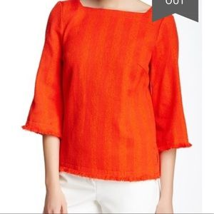 Trina Turk Simone Blouse with frayed edges - Poppy